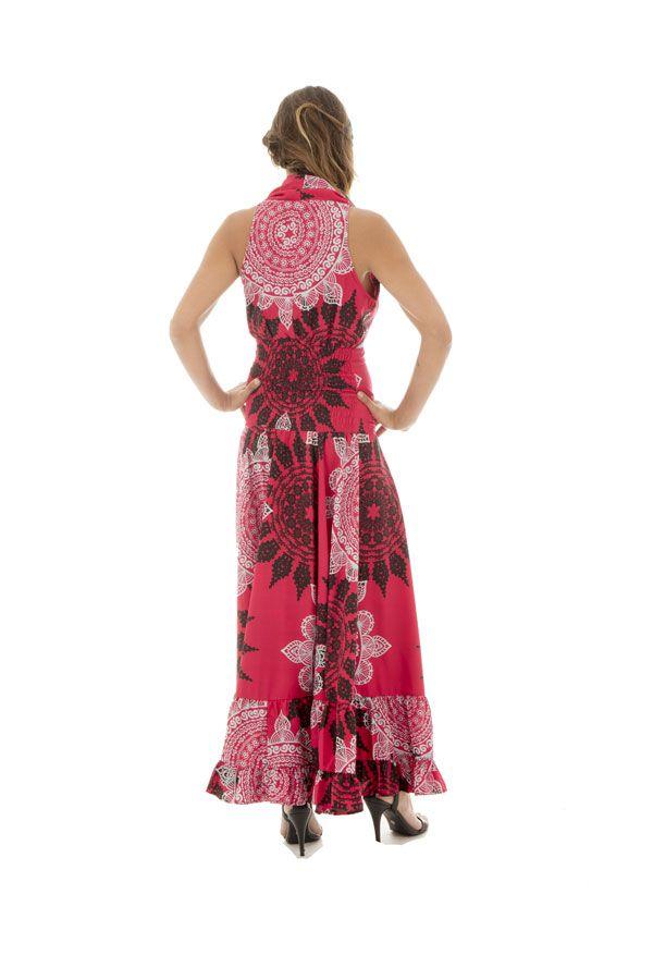 robe longue féminine avec col cache coeur et mandalas Panna 289273