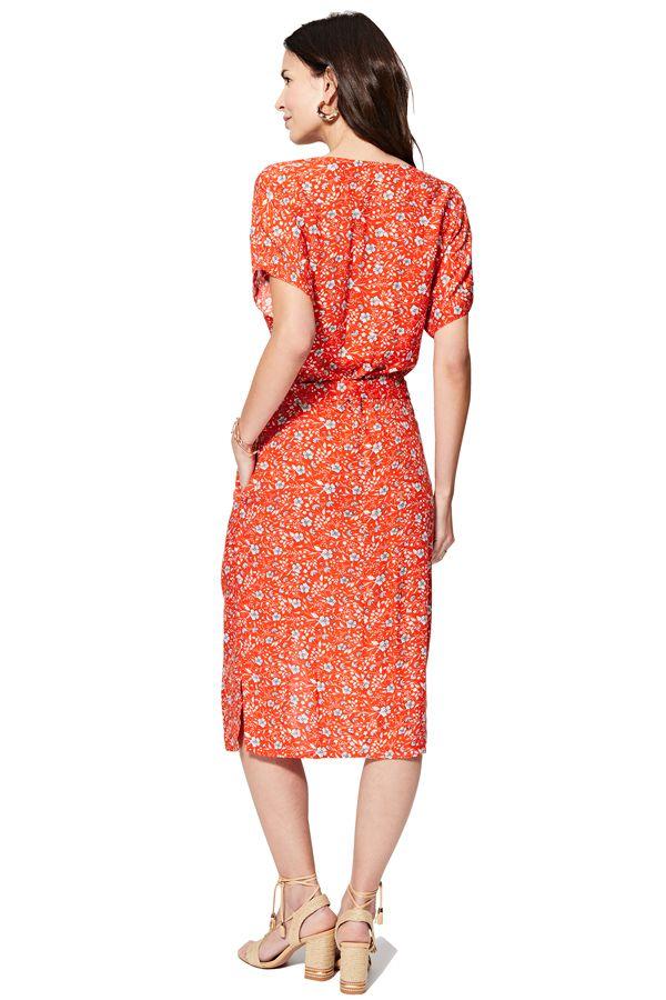 Robe longue femme avec boutons devant imprimé fleurie Nawel