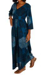 Robe longue femme bleue pour l'été évasée et ethnique Zomba 314799
