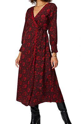 Robe longue femme en portefeuille rouge tendance Ariadne