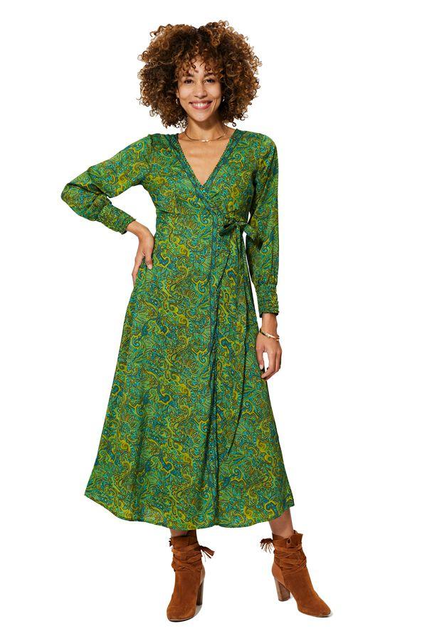 Robe longue femme en portefeuille verte tendance Ryann