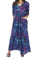 Robe longue femme été en voile de coton fleurie Hélène 315930