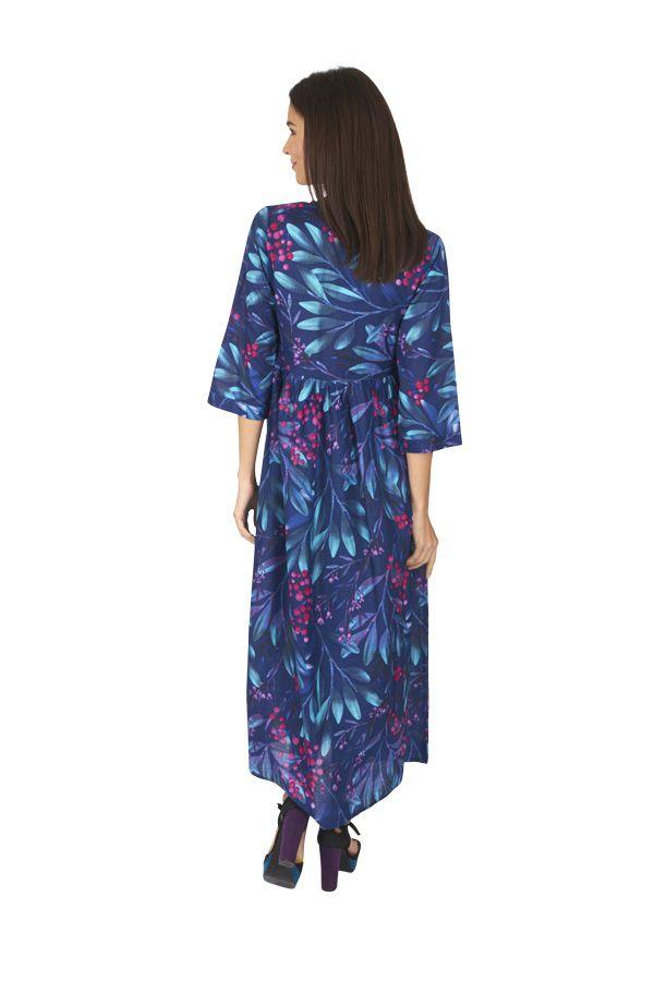 Robe longue femme été en voile de coton fleurie Hélène 315934