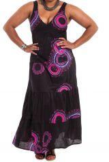 Robe longue Femme pulpeuse Originale et à Volants Ida Noire Rosaces 284397