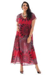 robe longue fluide avec ceinture et col en v haut en couleur Amazone 290337