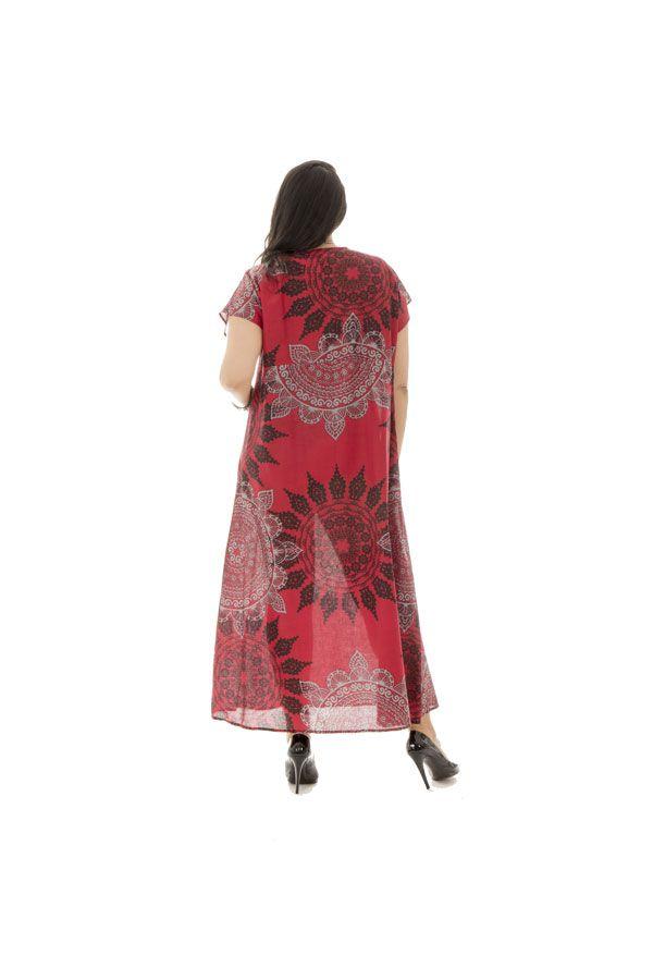 robe longue fluide avec ceinture et col en v haut en couleur Amazone 290338