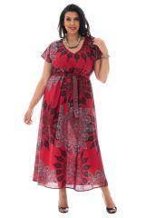 robe longue fluide avec ceinture et col en v haut en couleur Amazone 290339