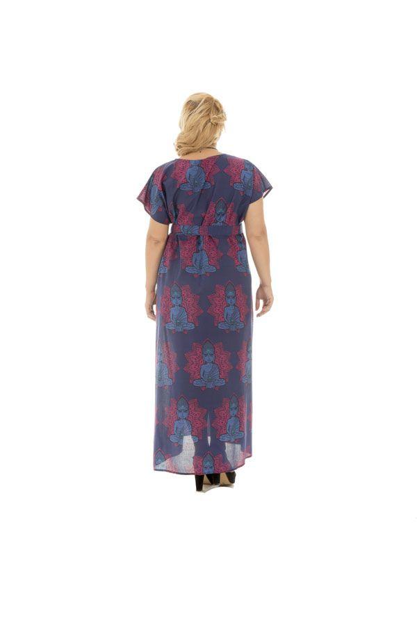 robe longue fluide avec ceinture et col en v haut en couleur Amazone 290344