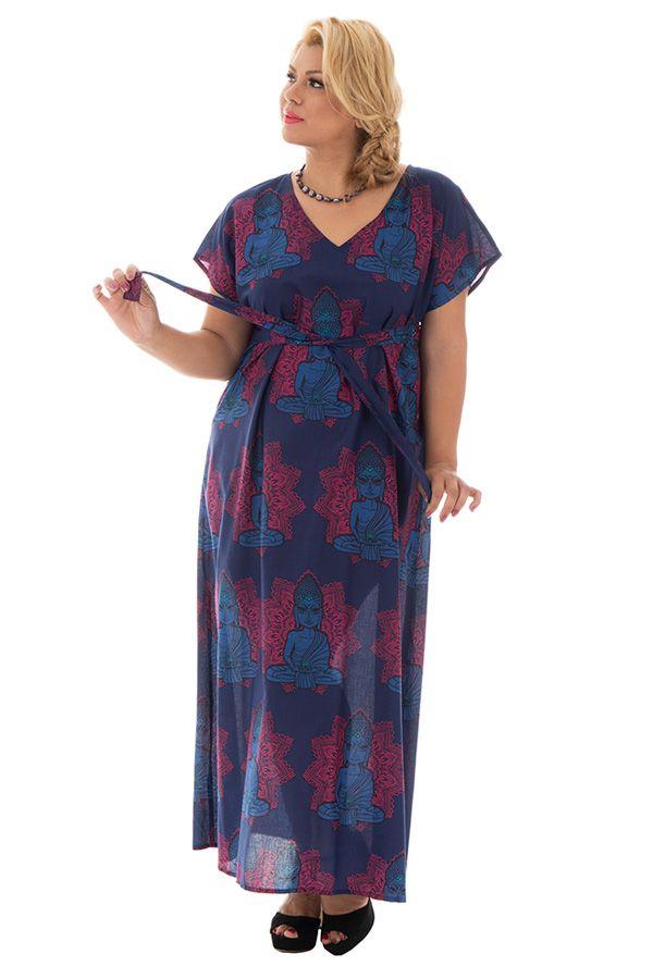 robe longue fluide avec ceinture et col en v haut en couleur Amazone 290345