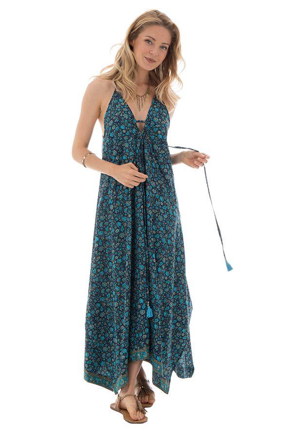robe longue fluide avec col v et fines bretelles bleue hela. Black Bedroom Furniture Sets. Home Design Ideas