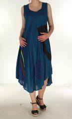 Robe longue fluide Bleue pétrole d'été Flamya 299605