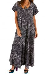 Robe longue fluide boutonnée devant look bohème Ysa 306129