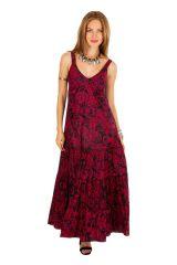 Robe longue fluide en coton imprimée rouge chic Crina