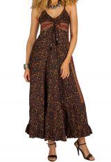 Robe longue fluide ethnique à fines bretelles Miranda 292684
