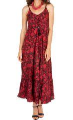 Robe longue fluide noire et rouge à fines bretelles Sabrina 313055