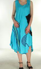 Robe longue fluide turquoise d'été Flamya 299613