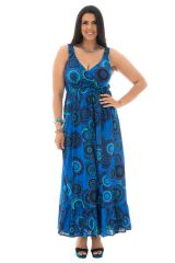 Robe longue grande taille a bretelles smockées Caty 292091