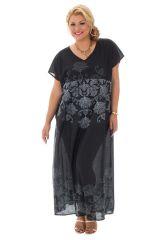 Robe longue grande taille avec imprimés et col v Voxan 290331