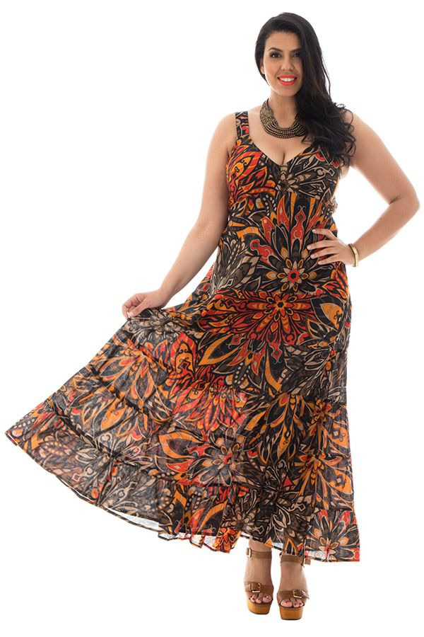 robe longue grande taille avec joli col en v Pax 293555