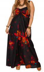 Robe longue grande taille avec un imprimé fleuri Rose 307929