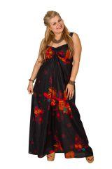 Robe longue grande taille avec un imprimé fleuri Rose 307930