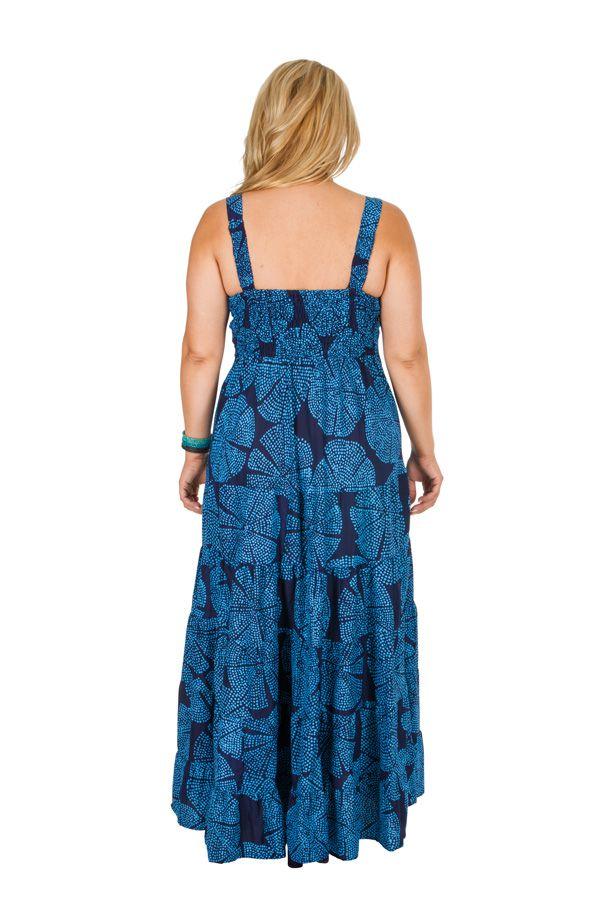 Robe longue grande taille bleue pour l\'été pas cher Viky