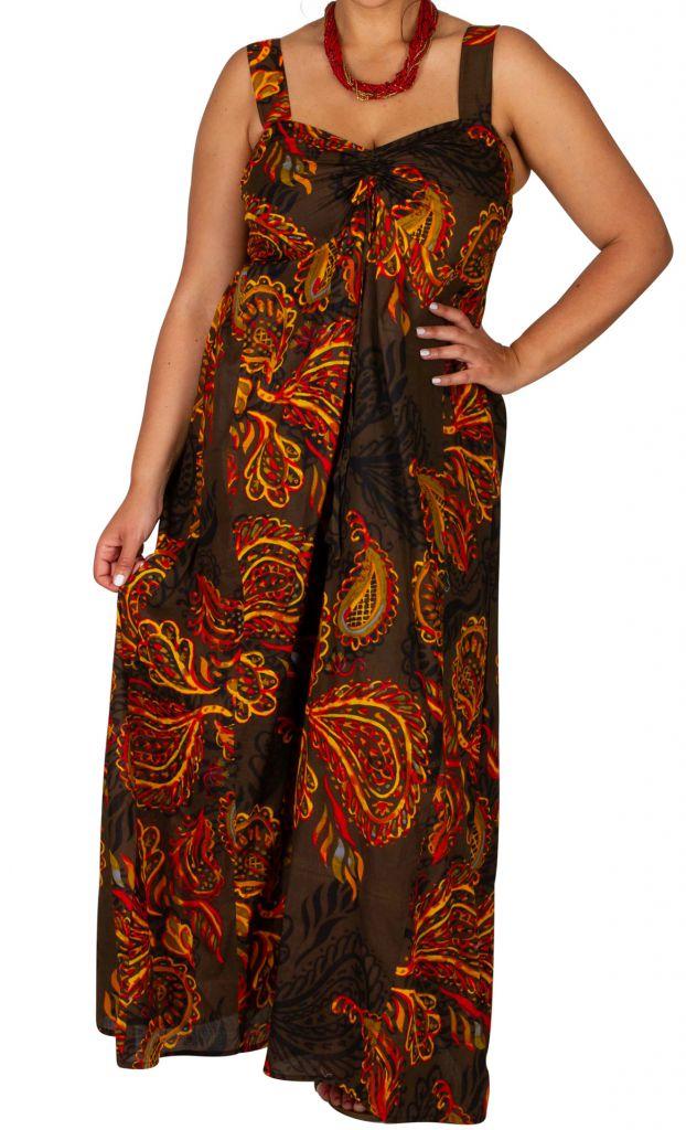 Robe longue grande taille chic-ethnique pour l'été Appolline 307932