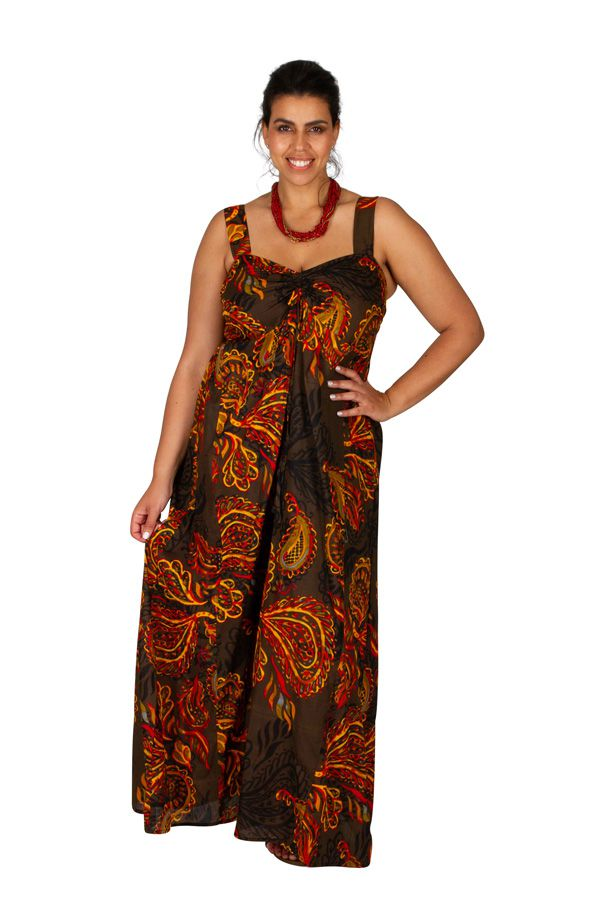 Robe longue grande taille chic-ethnique pour l'été Appolline 307933
