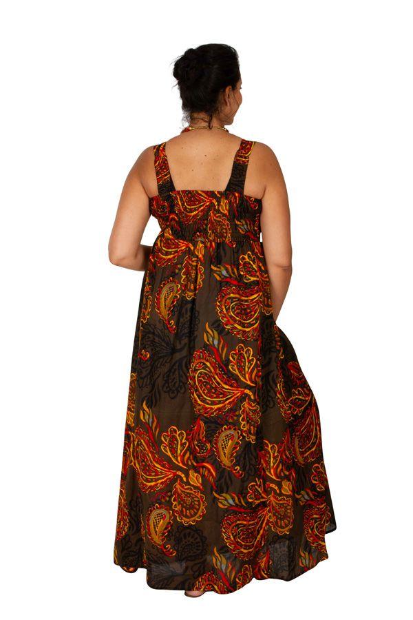 Robe longue grande taille chic-ethnique pour l'été Appolline 307934