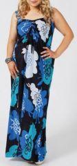 Robe longue grande taille colorée tons bleu Sheila 271181