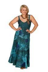 Robe longue grande taille imprimée turquoise Margaux 307956