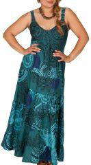 Robe longue grande taille imprimée turquoise Margaux 307958