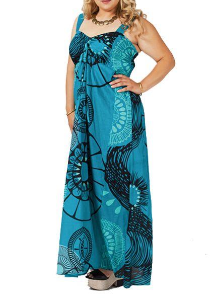 robe longue grande taille originale bleue joy. Black Bedroom Furniture Sets. Home Design Ideas