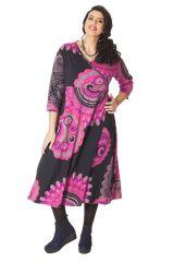 Robe longue Grande taille Pas chère et forme Portefeuille Calista Rose 286265