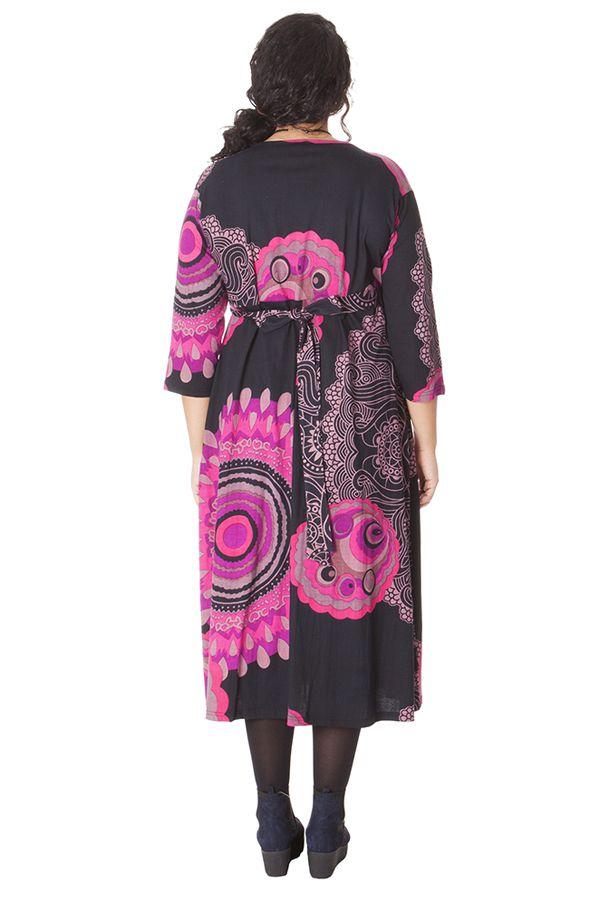 Robe longue Grande taille Pas chère et forme Portefeuille Calista Rose 286266