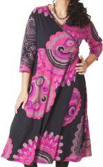 Robe longue Grande taille Pas chère et forme Portefeuille Calista Rose 286979