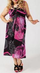 Robe longue grande taille pas chère noire et rosee Daria 271189