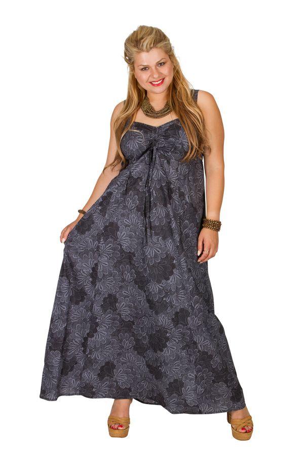 Robe longue grise imprimée femme grande taille Lynna