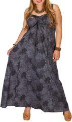 Robe longue grise imprimée femme grande taille Lynna 313487