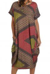 Robe longue hôtesse d\'été ample et patchwork Nadia