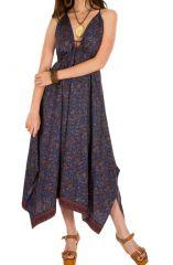 Robe longue idéale été avec imprimés traditionnels indien violet Dorinda 293169