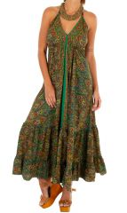 Robe longue idéale pour l'été ethnique et imprimée Angèle 311469