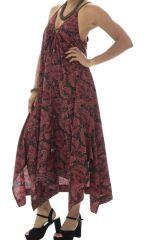 Robe longue imprimée avec bretelles croisées bordeaux Dorinda 293156