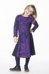 Robe longue imprimée avec détails brodés pour fille 286369