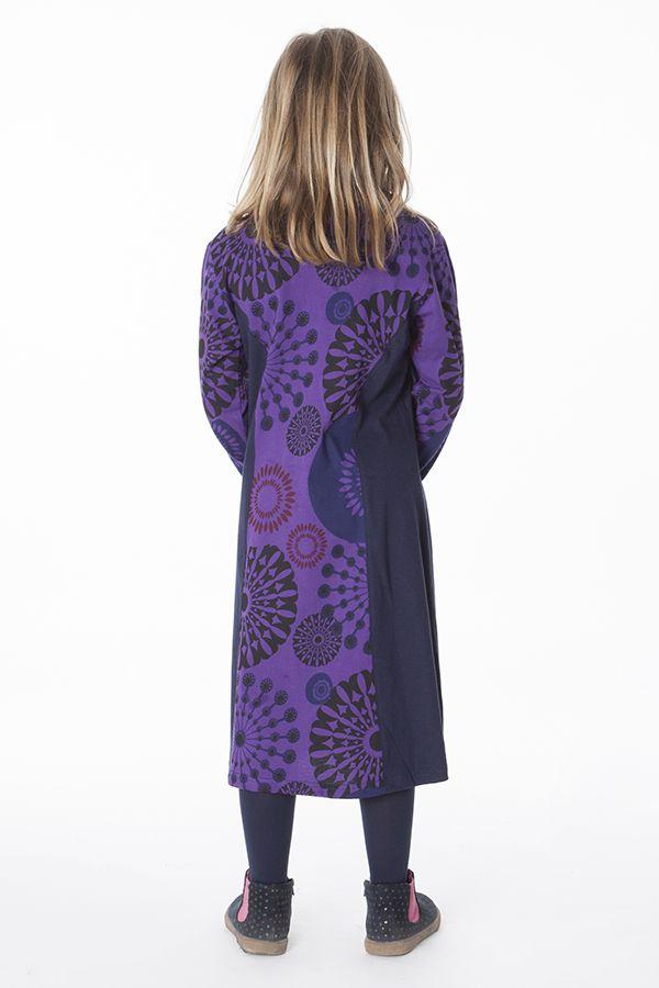 Robe longue imprimée avec détails brodés pour fille 286370