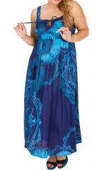 Robe longue imprimée bleue femme grande taille Léa