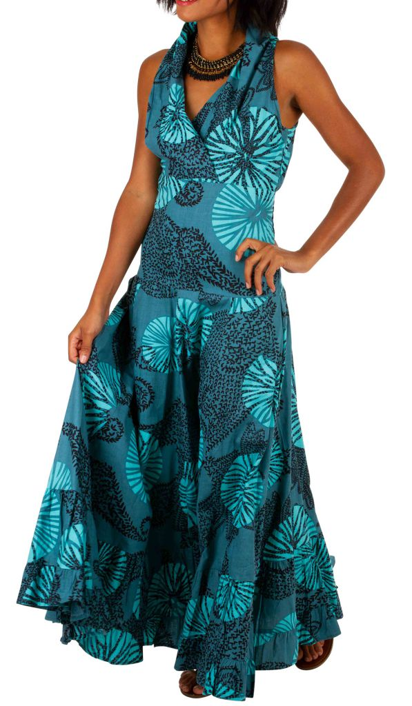 Robe longue imprimée bleue turquoise idéale cérémonie Adela 309453