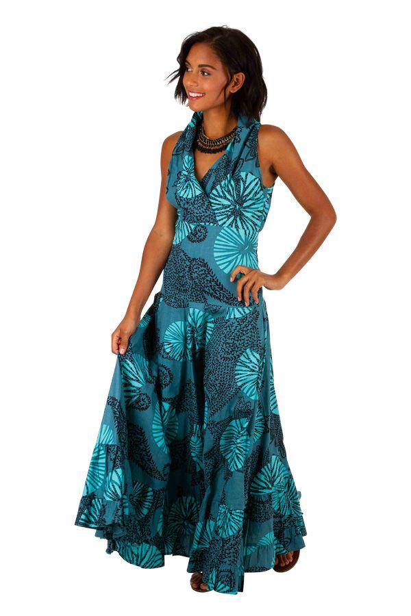 Robe longue imprimée bleue turquoise idéale cérémonie Adela 309454