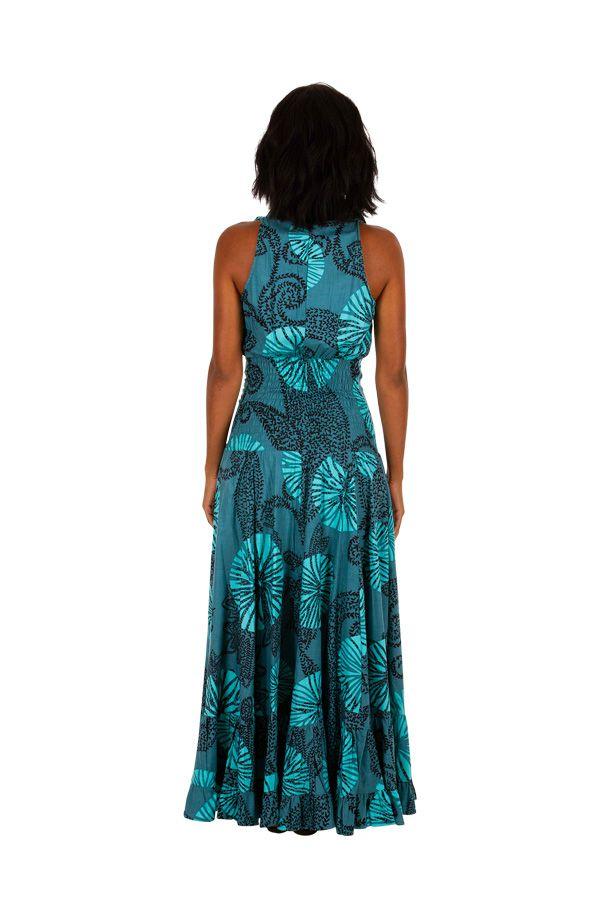 Robe longue imprimée bleue turquoise idéale cérémonie Adela 309455