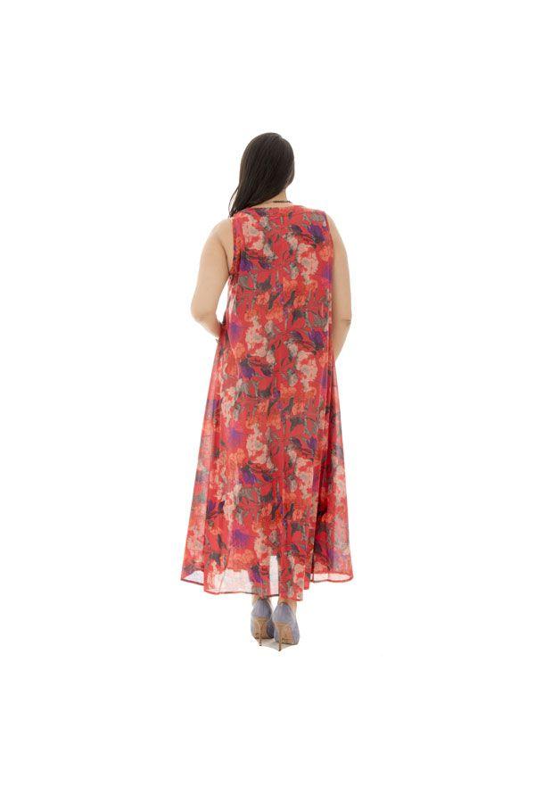 Robe longue imprimée évasée avec ceinture Cosima 290216
